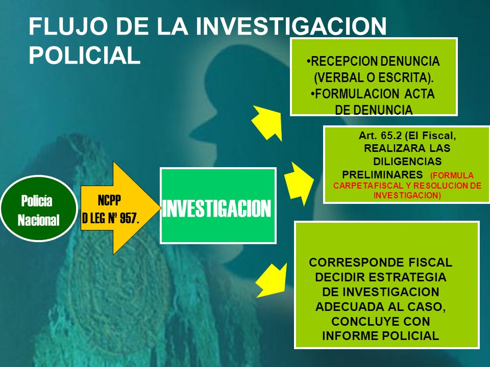 Policía Nacional INVESTIGACION RECEPCION DENUNCIA (VERBAL O ESCRITA).