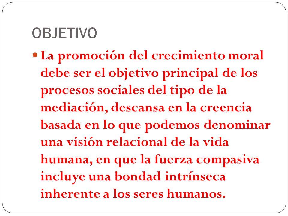 OBJETIVO La promoción del crecimiento moral debe ser el objetivo principal de los procesos sociales del tipo de la mediación, descansa en la creencia