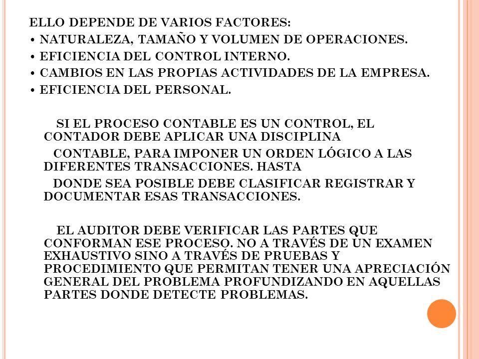 ELLO DEPENDE DE VARIOS FACTORES: NATURALEZA, TAMAÑO Y VOLUMEN DE OPERACIONES. EFICIENCIA DEL CONTROL INTERNO. CAMBIOS EN LAS PROPIAS ACTIVIDADES DE LA