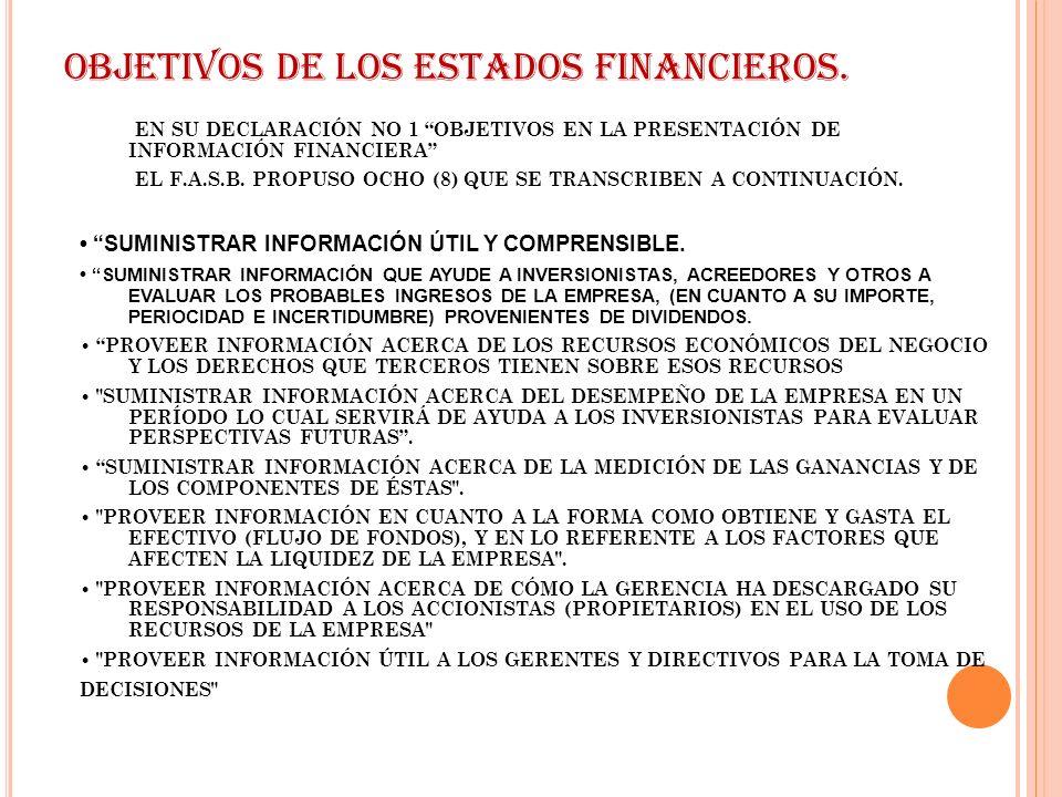 OBJETIVOS DE LOS ESTADOS FINANCIEROS. EN SU DECLARACIÓN NO 1 OBJETIVOS EN LA PRESENTACIÓN DE INFORMACIÓN FINANCIERA EL F.A.S.B. PROPUSO OCHO (8) QUE S