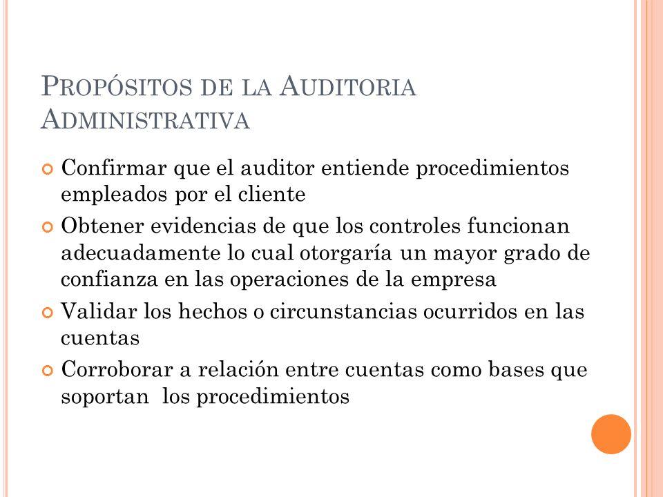 P ROPÓSITOS DE LA A UDITORIA A DMINISTRATIVA Confirmar que el auditor entiende procedimientos empleados por el cliente Obtener evidencias de que los c