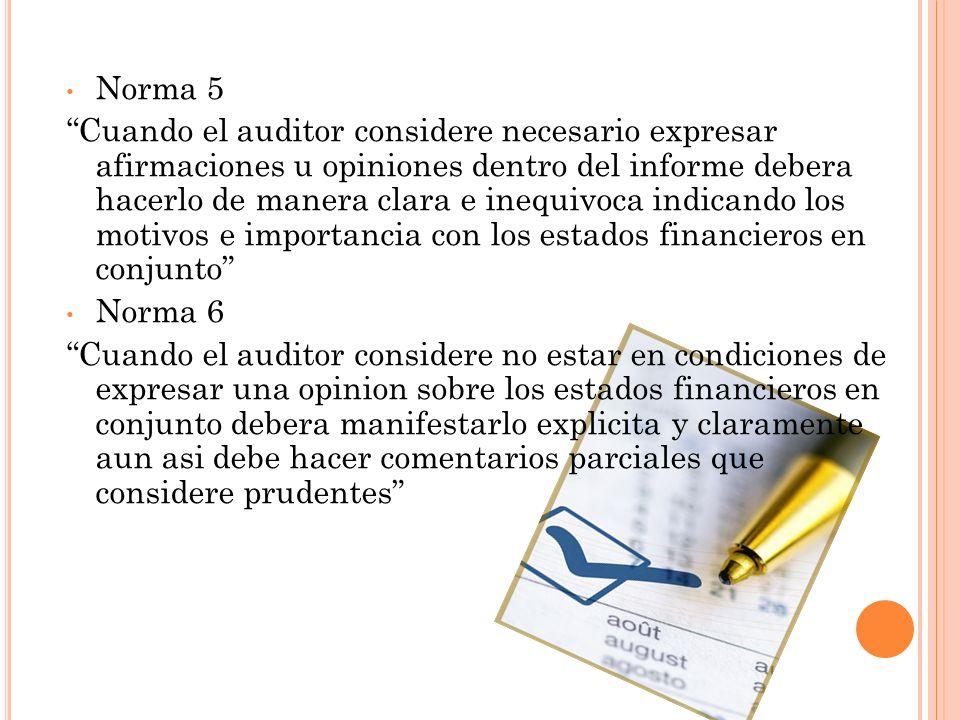 Norma 5 Cuando el auditor considere necesario expresar afirmaciones u opiniones dentro del informe debera hacerlo de manera clara e inequivoca indican