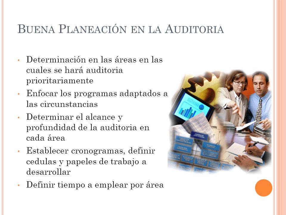 B UENA P LANEACIÓN EN LA A UDITORIA Determinación en las áreas en las cuales se hará auditoria prioritariamente Enfocar los programas adaptados a las