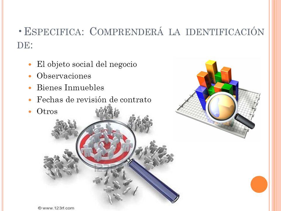 E SPECIFICA : C OMPRENDERÁ LA IDENTIFICACIÓN DE : El objeto social del negocio Observaciones Bienes Inmuebles Fechas de revisión de contrato Otros