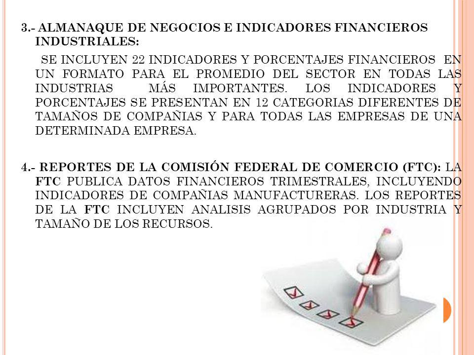 3.- ALMANAQUE DE NEGOCIOS E INDICADORES FINANCIEROS INDUSTRIALES: SE INCLUYEN 22 INDICADORES Y PORCENTAJES FINANCIEROS EN UN FORMATO PARA EL PROMEDIO