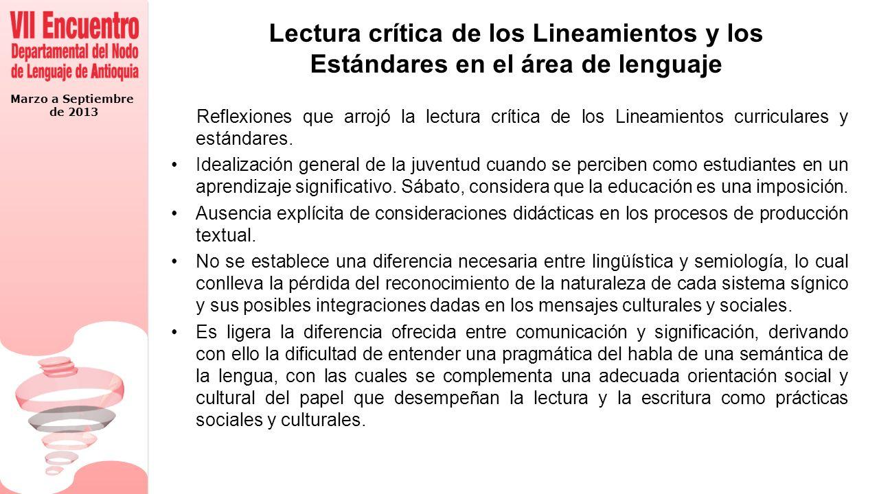 Marzo a Septiembre de 2013 Lectura crítica de los Lineamientos y los Estándares en el área de lenguaje Reflexiones que arrojó la lectura crítica de lo