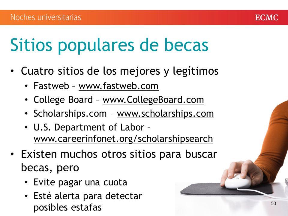 Sitios populares de becas Cuatro sitios de los mejores y legítimos Fastweb – www.fastweb.comwww.fastweb.com College Board – www.CollegeBoard.comwww.CollegeBoard.com Scholarships.com – www.scholarships.comwww.scholarships.com U.S.