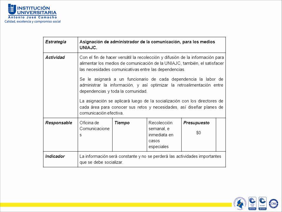 Estrategia Asignación de administrador de la comunicación, para los medios UNIAJC.