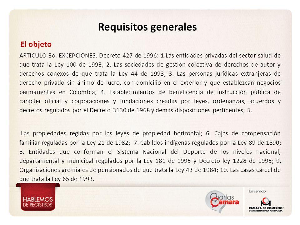 ARTICULO 3o. EXCEPCIONES. Decreto 427 de 1996: 1.Las entidades privadas del sector salud de que trata la Ley 100 de 1993; 2. Las sociedades de gestión