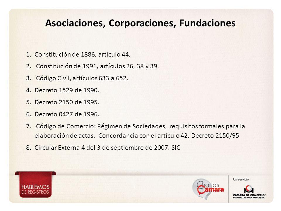 Asociaciones, Corporaciones, Fundaciones 1.Constitución de 1886, artículo 44. 2. Constitución de 1991, artículos 26, 38 y 39. 3. Código Civil, artícul