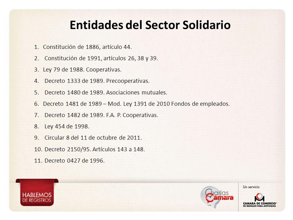 Entidades del Sector Solidario 1.Constitución de 1886, artículo 44. 2. Constitución de 1991, artículos 26, 38 y 39. 3.Ley 79 de 1988. Cooperativas. 4.