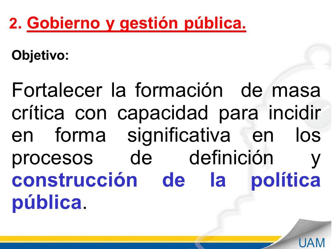 Septiembre - 2011 2. Gobierno y gestión pública. Objetivo: Fortalecer la formación de masa crítica con capacidad para incidir en forma significativa e
