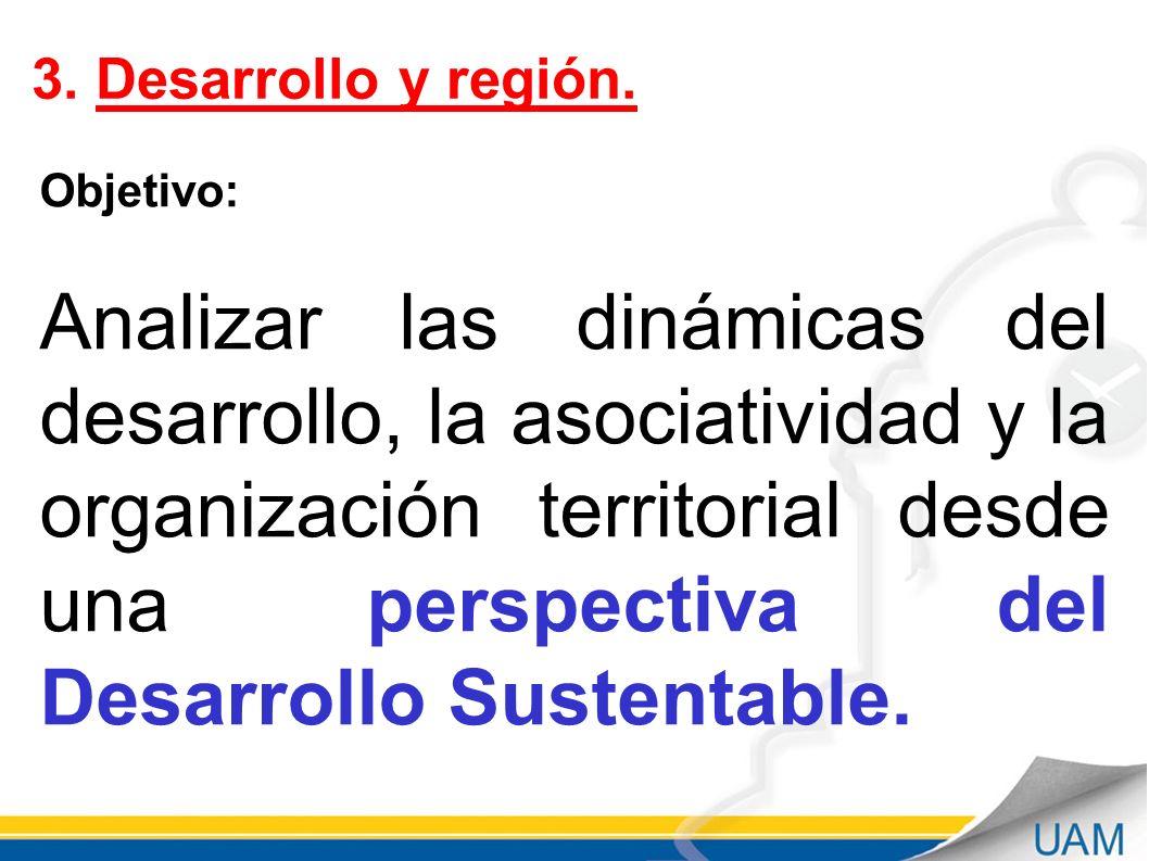 Septiembre - 2011 3. Desarrollo y región. Objetivo: Analizar las dinámicas del desarrollo, la asociatividad y la organización territorial desde una pe