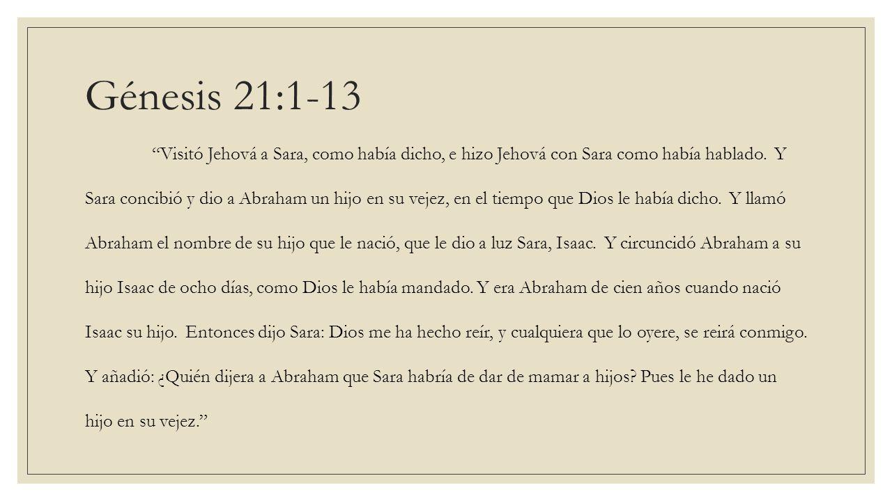 Visitó Jehová a Sara, como había dicho, e hizo Jehová con Sara como había hablado. Y Sara concibió y dio a Abraham un hijo en su vejez, en el tiempo q
