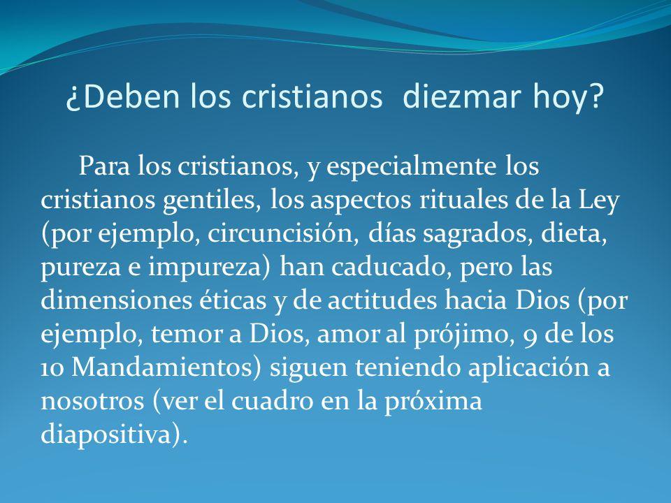 ¿Deben los cristianos diezmar hoy? Para los cristianos, y especialmente los cristianos gentiles, los aspectos rituales de la Ley (por ejemplo, circunc