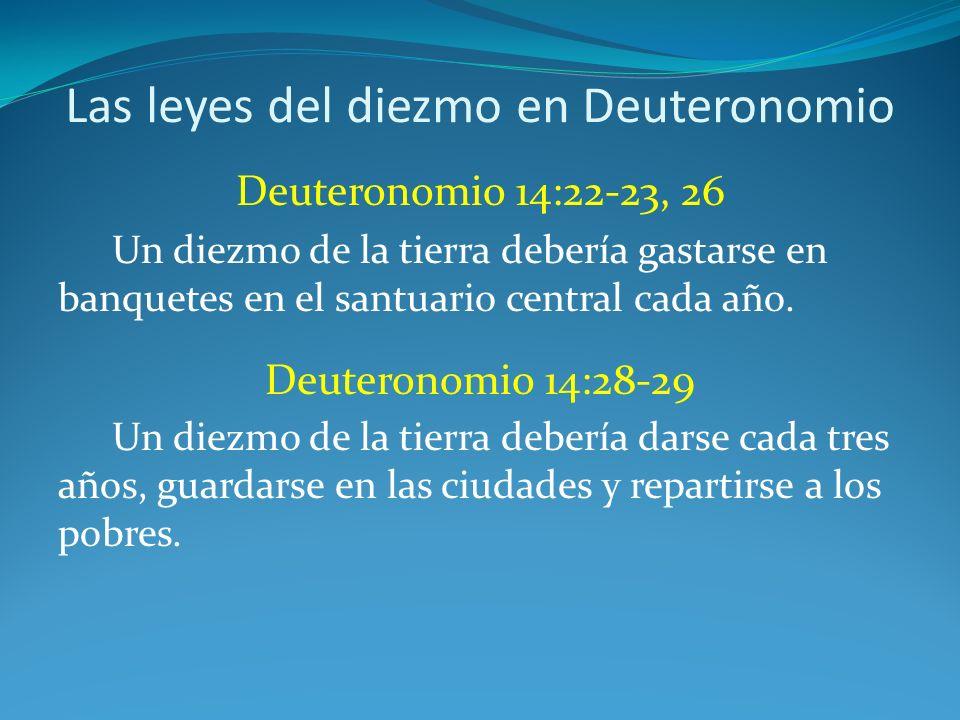 Las leyes del diezmo en Deuteronomio Deuteronomio 14:22-23, 26 Un diezmo de la tierra debería gastarse en banquetes en el santuario central cada año.