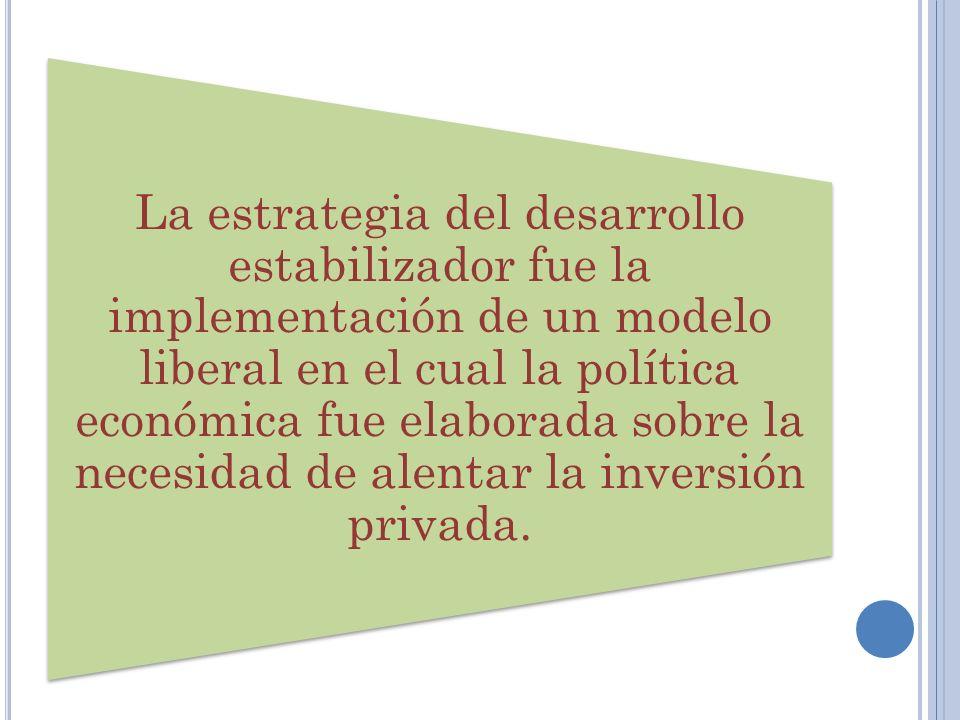 La estrategia del desarrollo estabilizador fue la implementación de un modelo liberal en el cual la política económica fue elaborada sobre la necesida