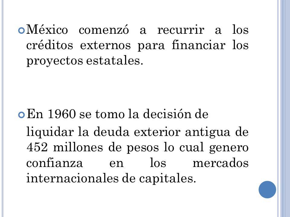 México comenzó a recurrir a los créditos externos para financiar los proyectos estatales. En 1960 se tomo la decisión de liquidar la deuda exterior an