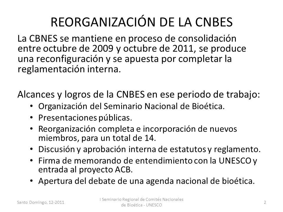 REORGANIZACIÓN DE LA CNBES La CBNES se mantiene en proceso de consolidación entre octubre de 2009 y octubre de 2011, se produce una reconfiguración y