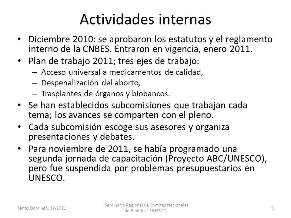 Actividades internas Diciembre 2010: se aprobaron los estatutos y el reglamento interno de la CNBES. Entraron en vigencia, enero 2011. Plan de trabajo