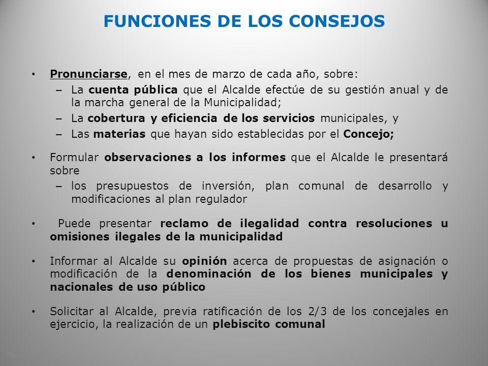 FUNCIONES DE LOS CONSEJOS Pronunciarse, en el mes de marzo de cada año, sobre: – La cuenta pública que el Alcalde efectúe de su gestión anual y de la