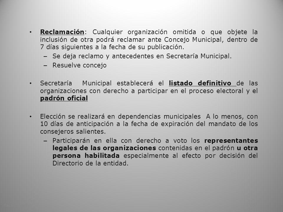 Reclamación: Cualquier organización omitida o que objete la inclusión de otra podrá reclamar ante Concejo Municipal, dentro de 7 días siguientes a la fecha de su publicación.
