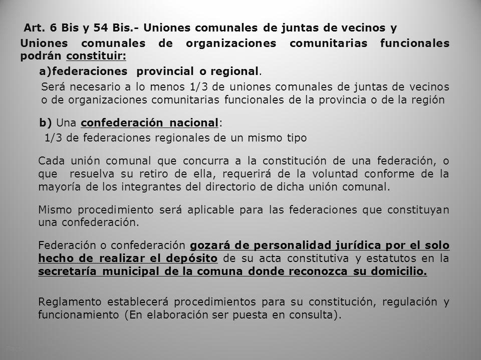 Art. 6 Bis y 54 Bis.- Uniones comunales de juntas de vecinos y Uniones comunales de organizaciones comunitarias funcionales podrán constituir: a)feder