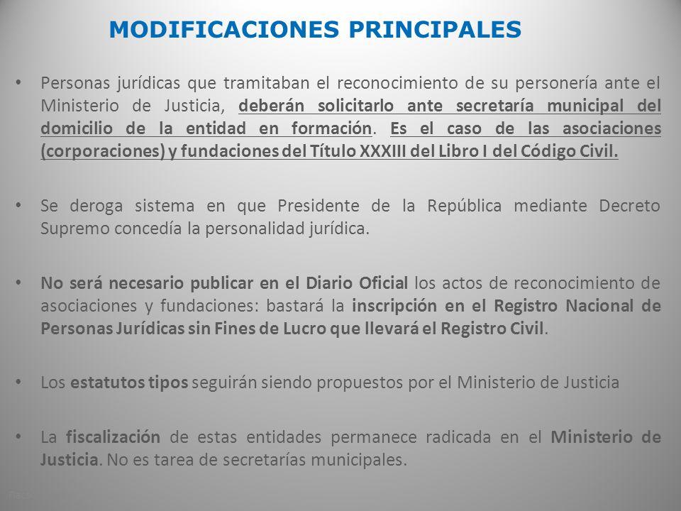 MODIFICACIONES PRINCIPALES Personas jurídicas que tramitaban el reconocimiento de su personería ante el Ministerio de Justicia, deberán solicitarlo ante secretaría municipal del domicilio de la entidad en formación.