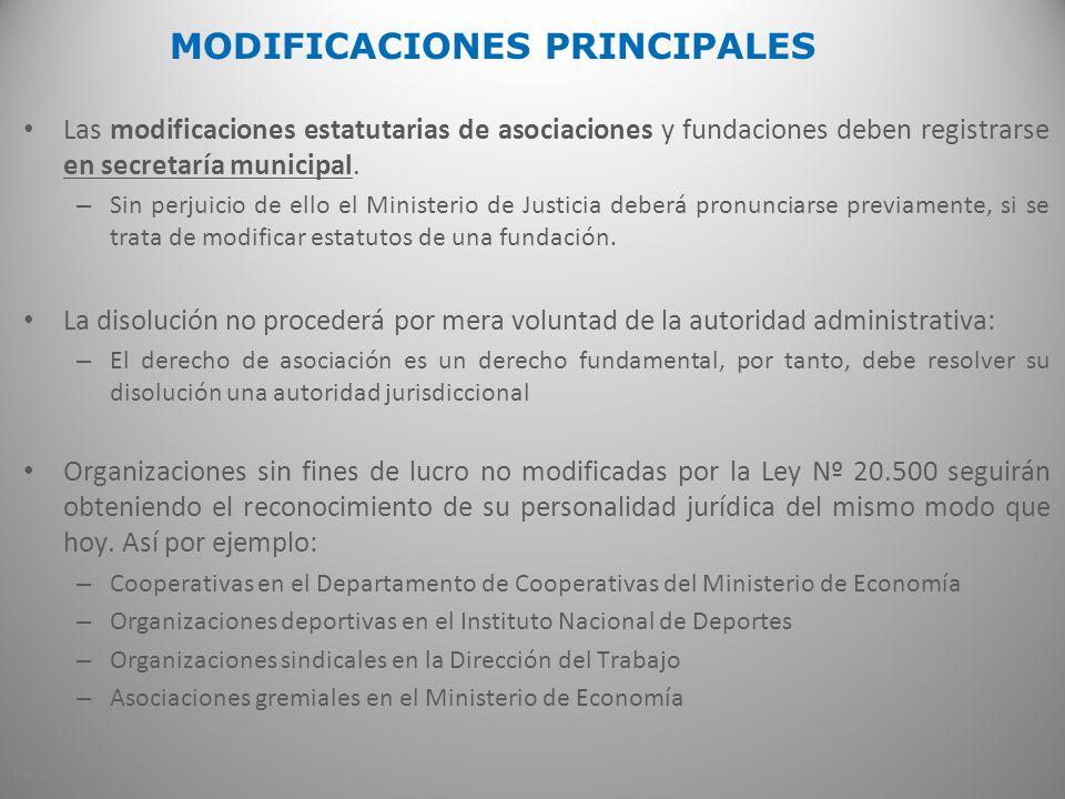 MODIFICACIONES PRINCIPALES Las modificaciones estatutarias de asociaciones y fundaciones deben registrarse en secretaría municipal. – Sin perjuicio de