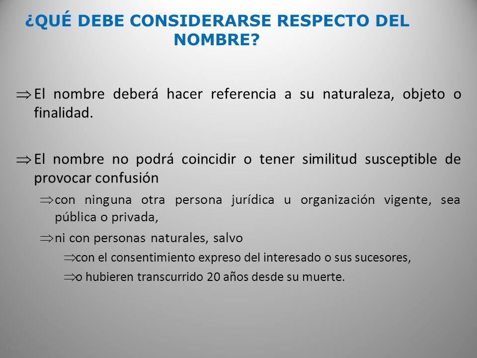 ¿QUÉ DEBE CONSIDERARSE RESPECTO DEL NOMBRE.