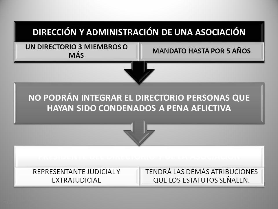 PRESIDENTE DEL DIRECTORIO Y DE LA ASOCIACIÓN REPRESENTANTE JUDICIAL Y EXTRAJUDICIAL TENDRÁ LAS DEMÁS ATRIBUCIONES QUE LOS ESTATUTOS SEÑALEN.