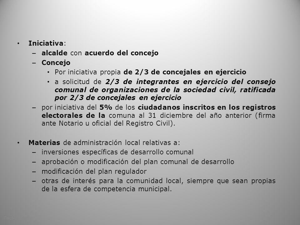 Iniciativa: – alcalde con acuerdo del concejo – Concejo Por iniciativa propia de 2/3 de concejales en ejercicio a solicitud de 2/3 de integrantes en e