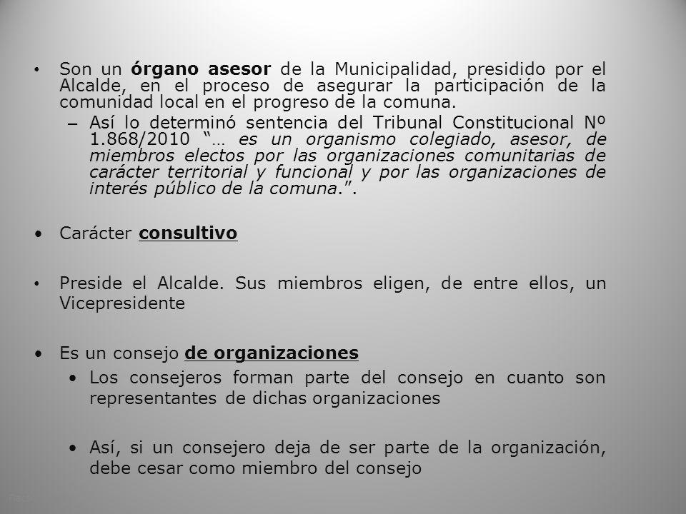 Son un órgano asesor de la Municipalidad, presidido por el Alcalde, en el proceso de asegurar la participación de la comunidad local en el progreso de