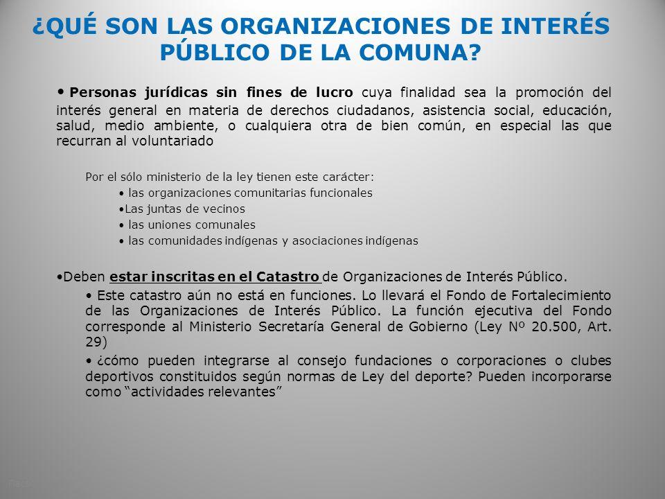 ¿QUÉ SON LAS ORGANIZACIONES DE INTERÉS PÚBLICO DE LA COMUNA.