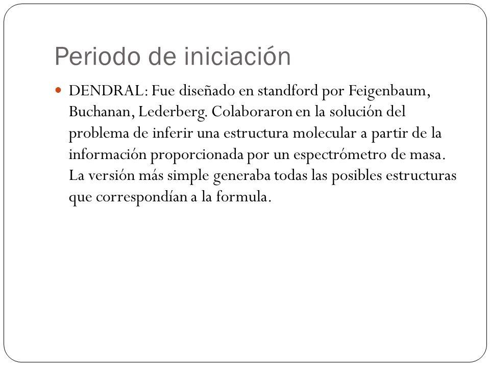 Periodo de iniciación DENDRAL: Fue diseñado en standford por Feigenbaum, Buchanan, Lederberg. Colaboraron en la solución del problema de inferir una e