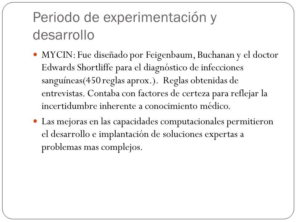 Periodo de experimentación y desarrollo MYCIN: Fue diseñado por Feigenbaum, Buchanan y el doctor Edwards Shortliffe para el diagnóstico de infecciones sanguíneas(450 reglas aprox.).