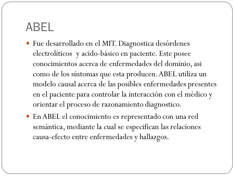ABEL Fue desarrollado en el MIT. Diagnostica desórdenes electrolíticos y acido-básico en paciente. Este posee conocimientos acerca de enfermedades del