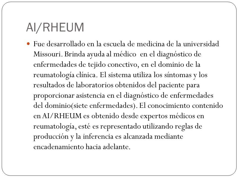 AI/RHEUM Fue desarrollado en la escuela de medicina de la universidad Missouri. Brinda ayuda al médico en el diagnóstico de enfermedades de tejido con