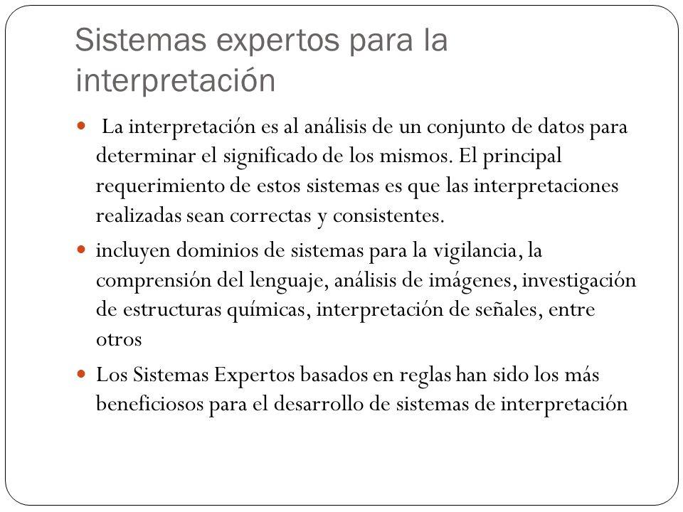 Sistemas expertos para la interpretación La interpretación es al análisis de un conjunto de datos para determinar el significado de los mismos.