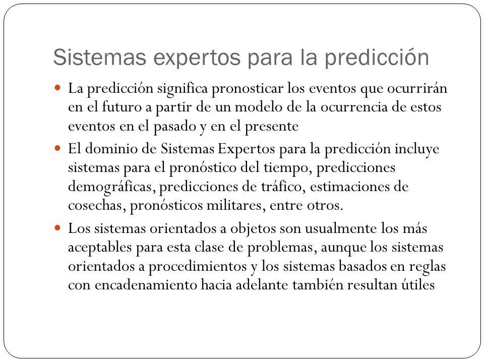 Sistemas expertos para la predicción La predicción significa pronosticar los eventos que ocurrirán en el futuro a partir de un modelo de la ocurrencia de estos eventos en el pasado y en el presente El dominio de Sistemas Expertos para la predicción incluye sistemas para el pronóstico del tiempo, predicciones demográficas, predicciones de tráfico, estimaciones de cosechas, pronósticos militares, entre otros.