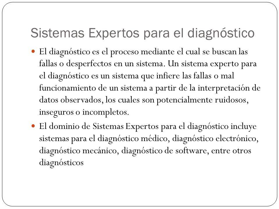 Sistemas Expertos para el diagnóstico El diagnóstico es el proceso mediante el cual se buscan las fallas o desperfectos en un sistema. Un sistema expe