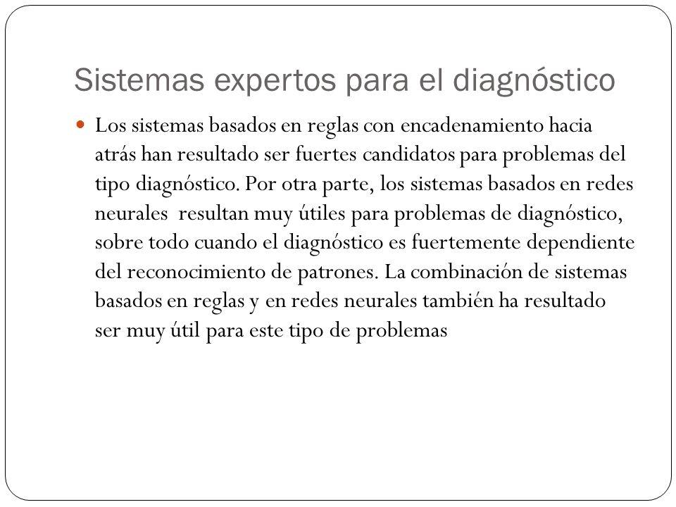 Sistemas expertos para el diagnóstico Los sistemas basados en reglas con encadenamiento hacia atrás han resultado ser fuertes candidatos para problemas del tipo diagnóstico.