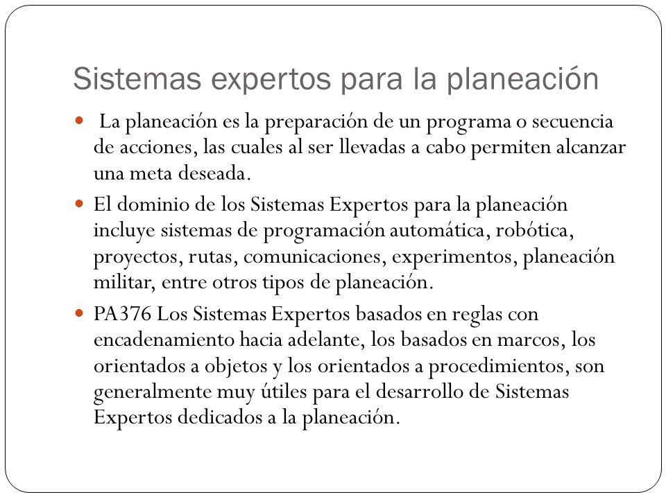 Sistemas expertos para la planeación La planeación es la preparación de un programa o secuencia de acciones, las cuales al ser llevadas a cabo permiten alcanzar una meta deseada.