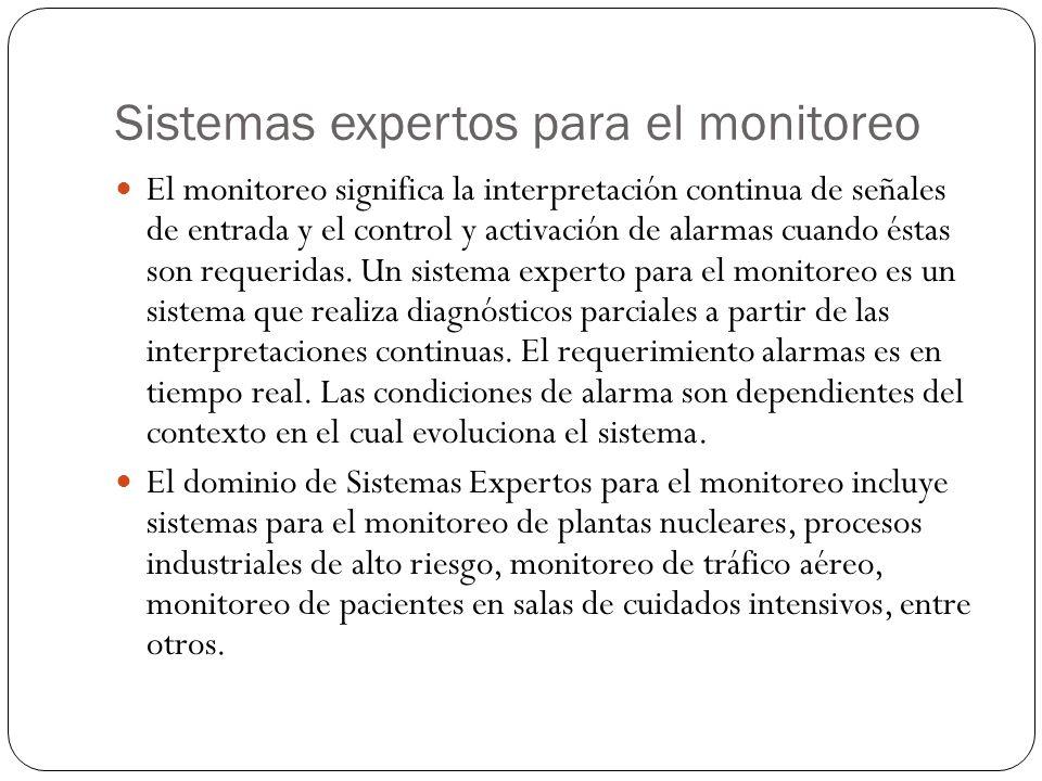 Sistemas expertos para el monitoreo El monitoreo significa la interpretación continua de señales de entrada y el control y activación de alarmas cuando éstas son requeridas.
