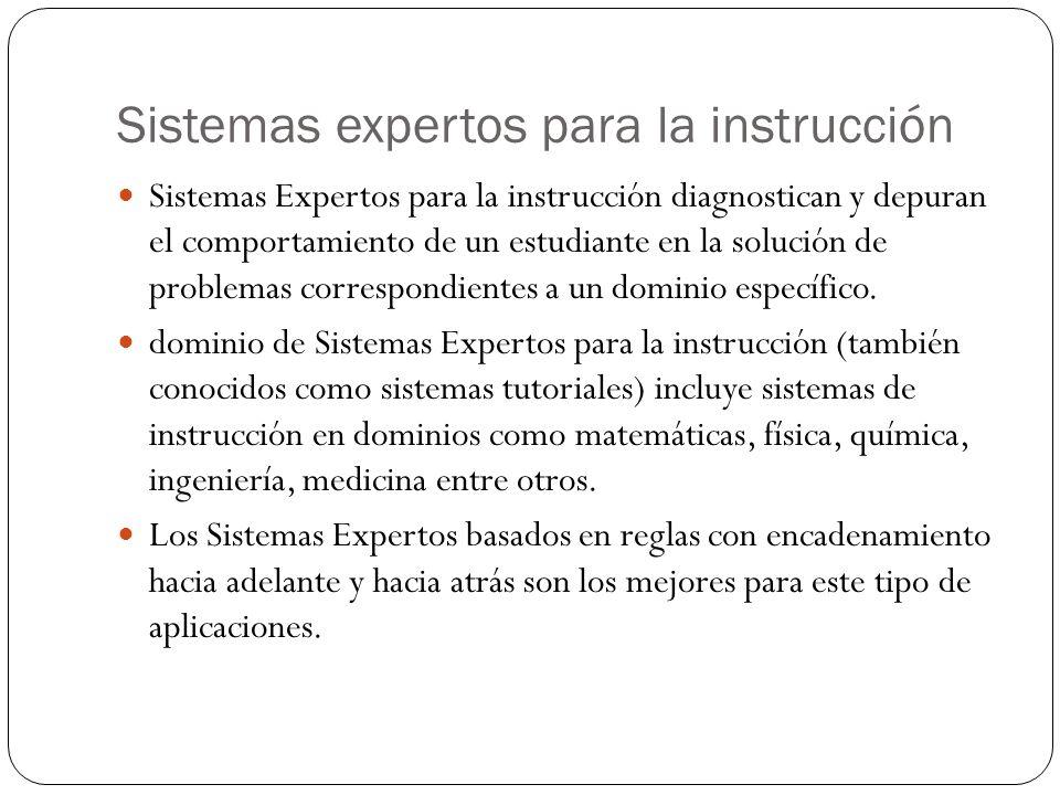 Sistemas expertos para la instrucción Sistemas Expertos para la instrucción diagnostican y depuran el comportamiento de un estudiante en la solución de problemas correspondientes a un dominio específico.