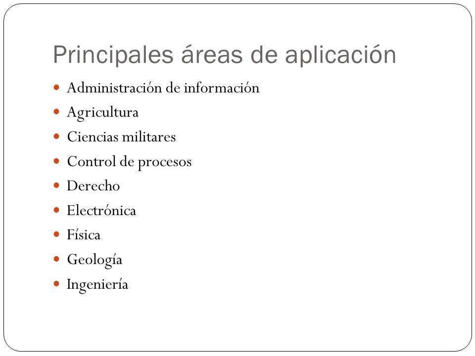 Principales áreas de aplicación Administración de información Agricultura Ciencias militares Control de procesos Derecho Electrónica Física Geología Ingeniería