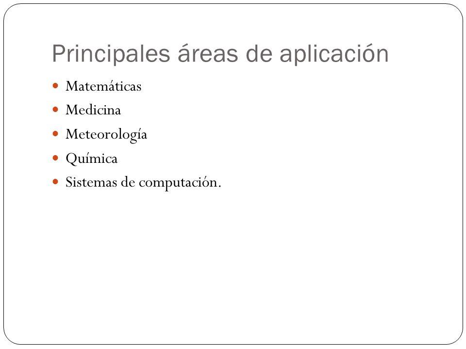Principales áreas de aplicación Matemáticas Medicina Meteorología Química Sistemas de computación.