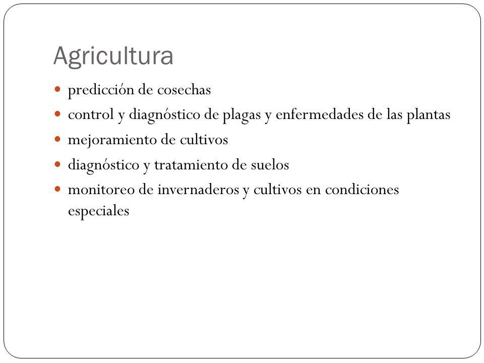Agricultura predicción de cosechas control y diagnóstico de plagas y enfermedades de las plantas mejoramiento de cultivos diagnóstico y tratamiento de suelos monitoreo de invernaderos y cultivos en condiciones especiales