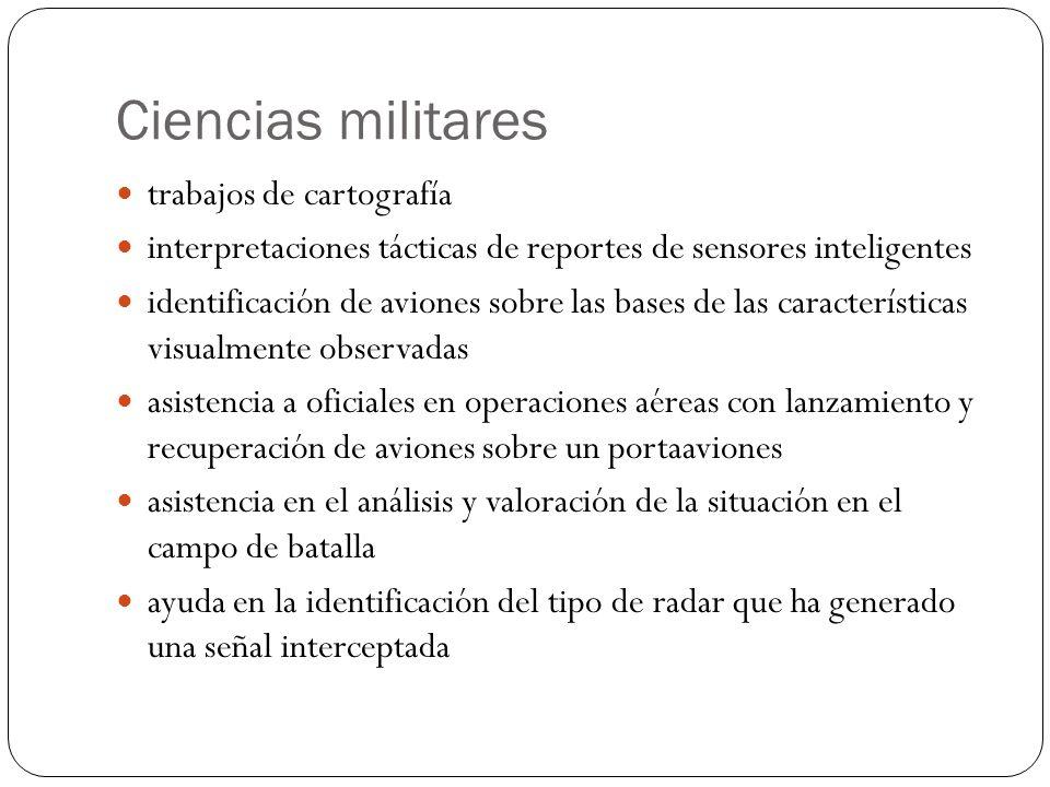 Ciencias militares trabajos de cartografía interpretaciones tácticas de reportes de sensores inteligentes identificación de aviones sobre las bases de
