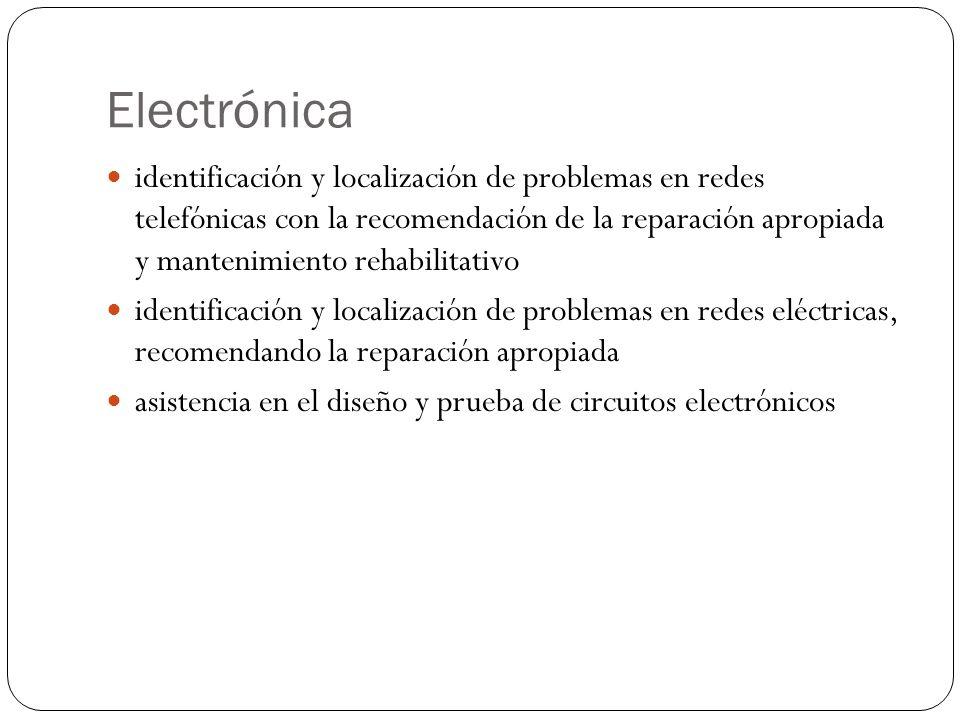 Electrónica identificación y localización de problemas en redes telefónicas con la recomendación de la reparación apropiada y mantenimiento rehabilitativo identificación y localización de problemas en redes eléctricas, recomendando la reparación apropiada asistencia en el diseño y prueba de circuitos electrónicos
